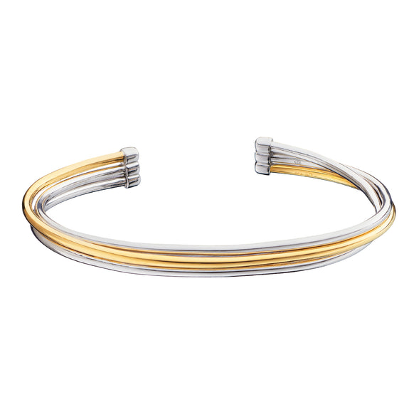 "Two-Tone ""Silver Lining"" Poesy Cuff, 3 Rows"