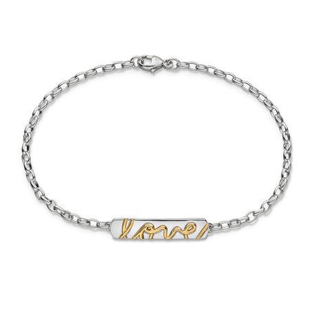"Two-Tone ""Love"" Poesy Bracelet"