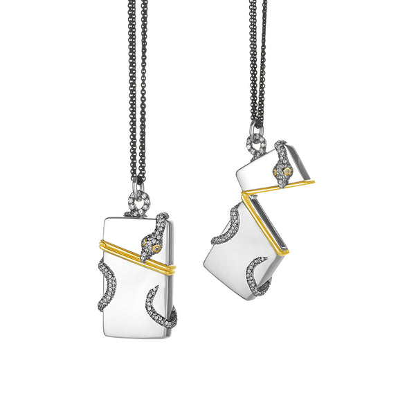 "Snake Never Fear ""Vesta"" Case Two-Tone Charm Necklace"