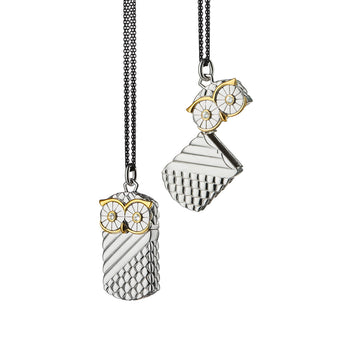 "Owl Wisdom ""Vesta"" Case Two-Tone Charm Necklace"