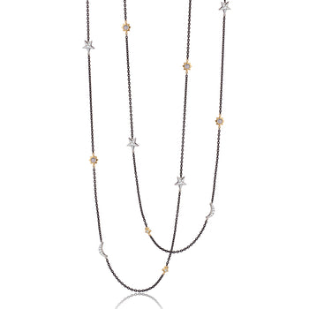 "Sun, Moon and Stars 40"" Moonstone and White Sapphire Steel Chain Necklace"