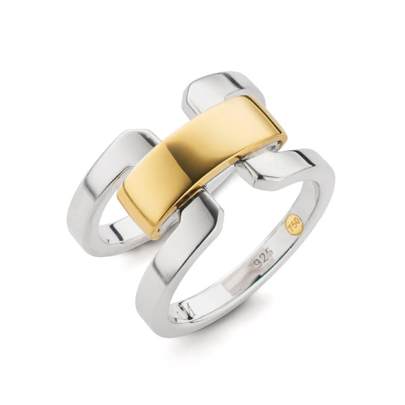 Two-Tone Double Band Ring With Gold Accent Bar