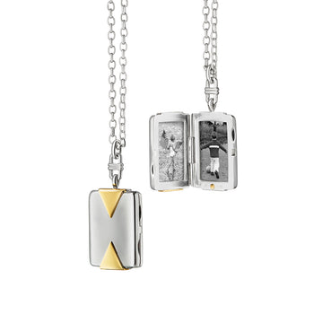 Two-Tone Rectangular Locket with Triangle Accents