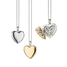 "Two-Tone ""Heart of Gold"" Locket, Silver Chain"