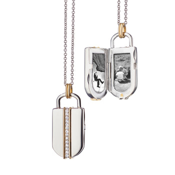 "Two-Tone Large ""Lock"" Inspired Locket, Silver Chain"