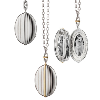 Two-Tone Four Image Pinstripe Locket