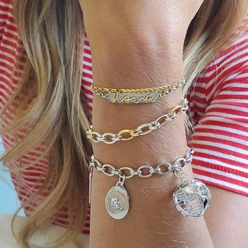 "Two-Tone ""Audrey"" Link Charm Bracelet in Sterling Silver and 18K Yellow Gold"