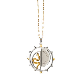 "Two-Tone ""Never Fear"" Snake Medallion on Yellow Gold Chain"