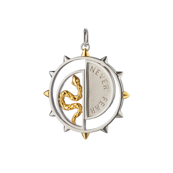 "Two-Tone ""Never Fear"" Snake Medallion"