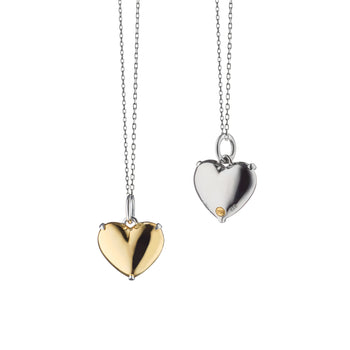 """Heart of Gold"" Two-Tone Charm Necklace on a Black Steel Chain"