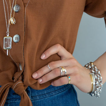 Two-Tone Double Band Ring, Rectangular Rock Crystal Key, Gold Poesy Ring Necklace, Bracelets and Rings