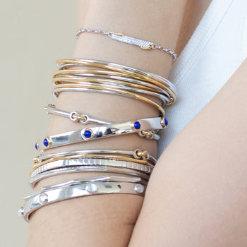 Sterling Silver and 18K Gold Poesy Bangles and Bracelets