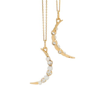 Special Edition Vintage Diamond and Pearl Moon Necklace