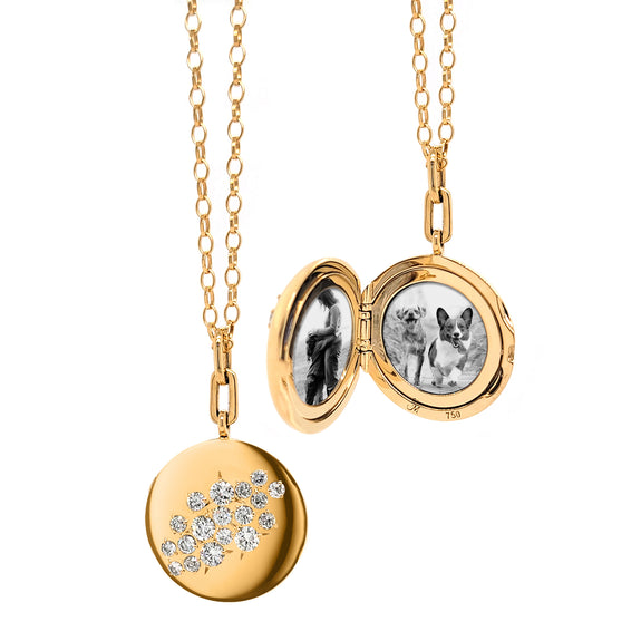 Special Edition Round Vintage Star Set Diamond Locket