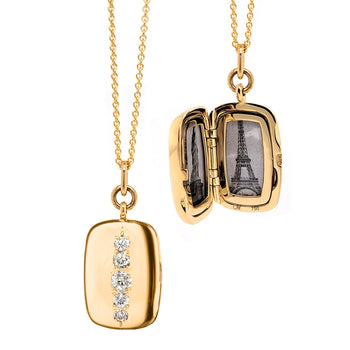 Special Edition Rectangle Stripe Vintage Diamond Locket