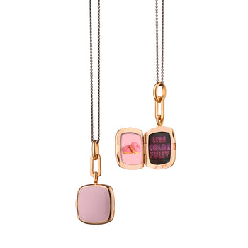 "Pink Enamel Vermeil Cushion Locket on 17"" Black Steel Chain"