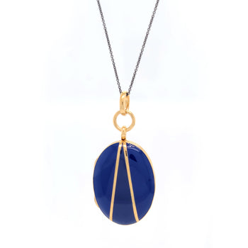 Blue Enamel and Vermeil Oval Locket