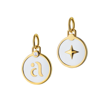 Mini White Enamel Vermeil Initial Charms