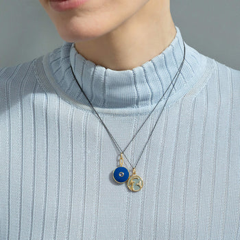 "Mini ""Capricorn"" Enamel Vermeil Charm and Blue Enamel Vermeil Locket"