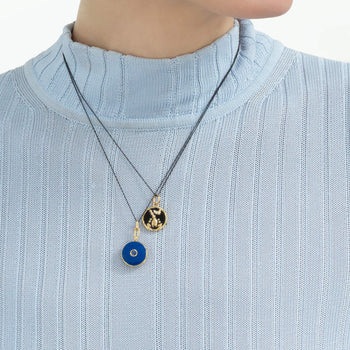 "Mini ""Scorpio"" Enamel Vermeil Charm with Blue Enamel Vermeil Locket"