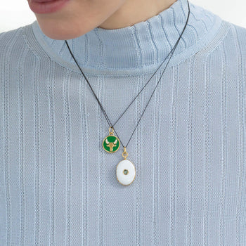"Mini ""Taurus"" Enamel Vermeil Charm with White Enamel Vermeil Locket"