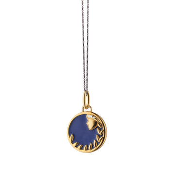 "Mini ""Virgo"" Enamel Vermeil Charm on 17"" Black Steel Chain"