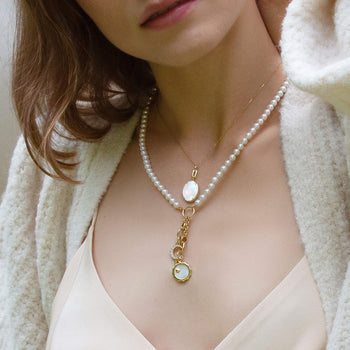 """Elle"" Stone Slim Locket with Pearl Design Your Own Charm Necklace"