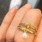 """The World is Your Oyster"" Pearl Stackable Poesy Ring in Ring Stack"