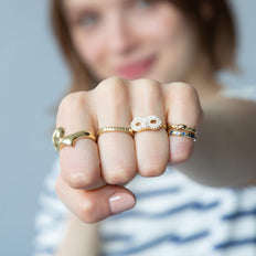 """Perseverance"" Fish Ring, Diamond Mask Ring, and Poesy Rings"