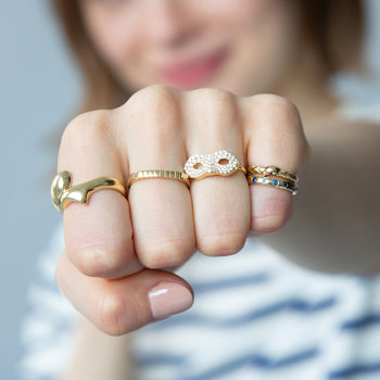 """Never Fear"" Snake Poesy Stackable Ring in Ring Stack"