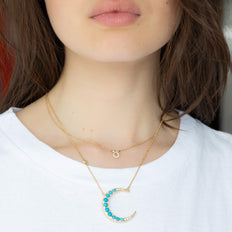 "Sun, Moon and Stars Turquoise Crescent Moon Necklace and ""Never Fear"" Diamond Snake Critter"