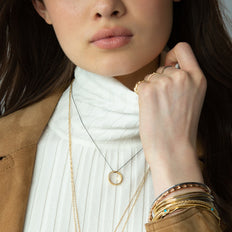 18K Yellow Gold Poesy Bangles and Poesy Ring Necklace