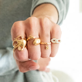 Lock Charm Ring with Octopus, Fish, and Mask Rings