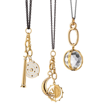 Design Your Own Charm Necklace in Black Steel & 18k Yellow Gold