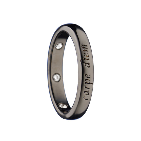 """Carpe Diem"" Poesy Ring with Black Rhodium"