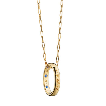 """Carpe Diem"" Poesy Ring Necklace on a Yellow Gold Chain"