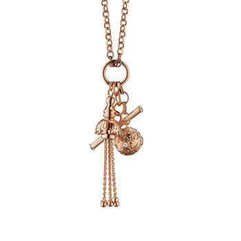Rose Gold Tassel Toggle  Charm Necklace with Diamonds