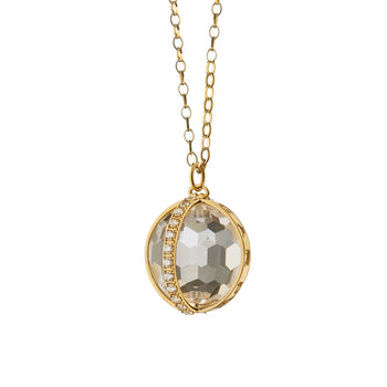 "18K Yellow Gold Extra Large ""Carpe Diem"" Charm Pendant one Axis in Pave Diamonds on a 32"" chain."