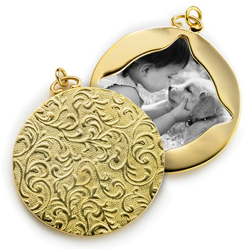 18K Gold Vine Half-Locket Charm