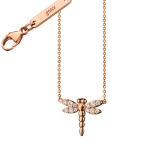 "Diamond Critter Dragonfly ""Grace"" Charm Necklace"
