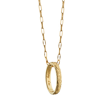 """My heart"" Engraved Poesy Ring Necklace on a Yellow Gold Chain"