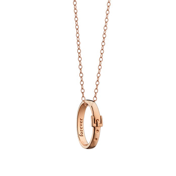 """Forever"" Buckle Poesy Ring Necklace on 30"" Rose Gold Chain"