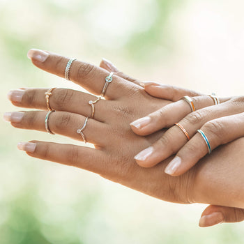 """Breathe"" Leaf Poesy Stackable Ring in Poesy Ring Stack"