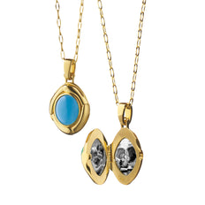Limited Edition 18K Yellow Gold Sleeping Beauty Turquoise Locket