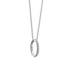 """Love"" Diamond Pave Poesy Ring Necklace on 30"" White Gold Chain"