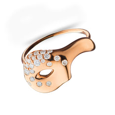 Unmasked™ Scattered Diamond Half Mask Rose Gold Ring