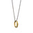 "18K Yellow Gold ""Wisdom"" Owl Poesy Ring Necklace, 32"" Steel Chain"
