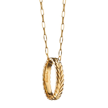 """Breathe"" Leaf Poesy Ring on a 18K yellow gold chain"