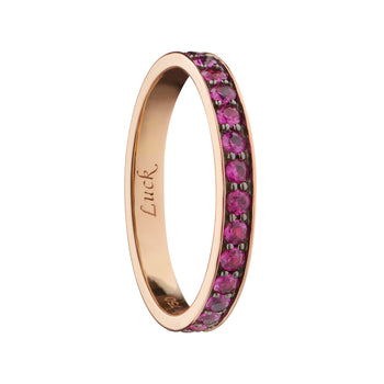 """Luck"" Ruby Poesy Stackable Ring"