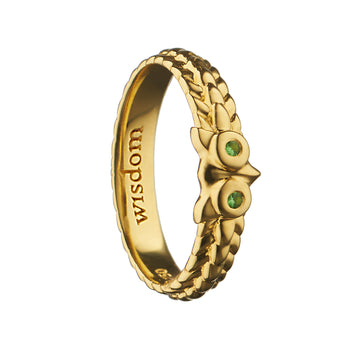"""Wisdom"" Owl Poesy Stackable Ring"